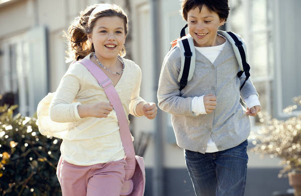 picture showing two kids running