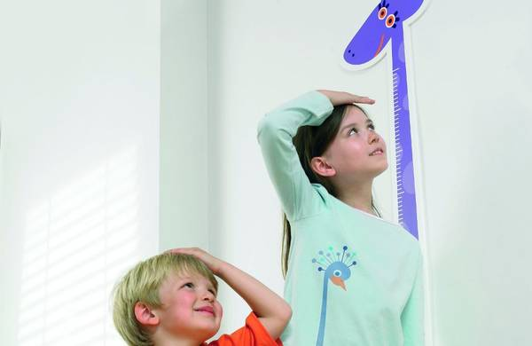 picture showing two kids measuring their height